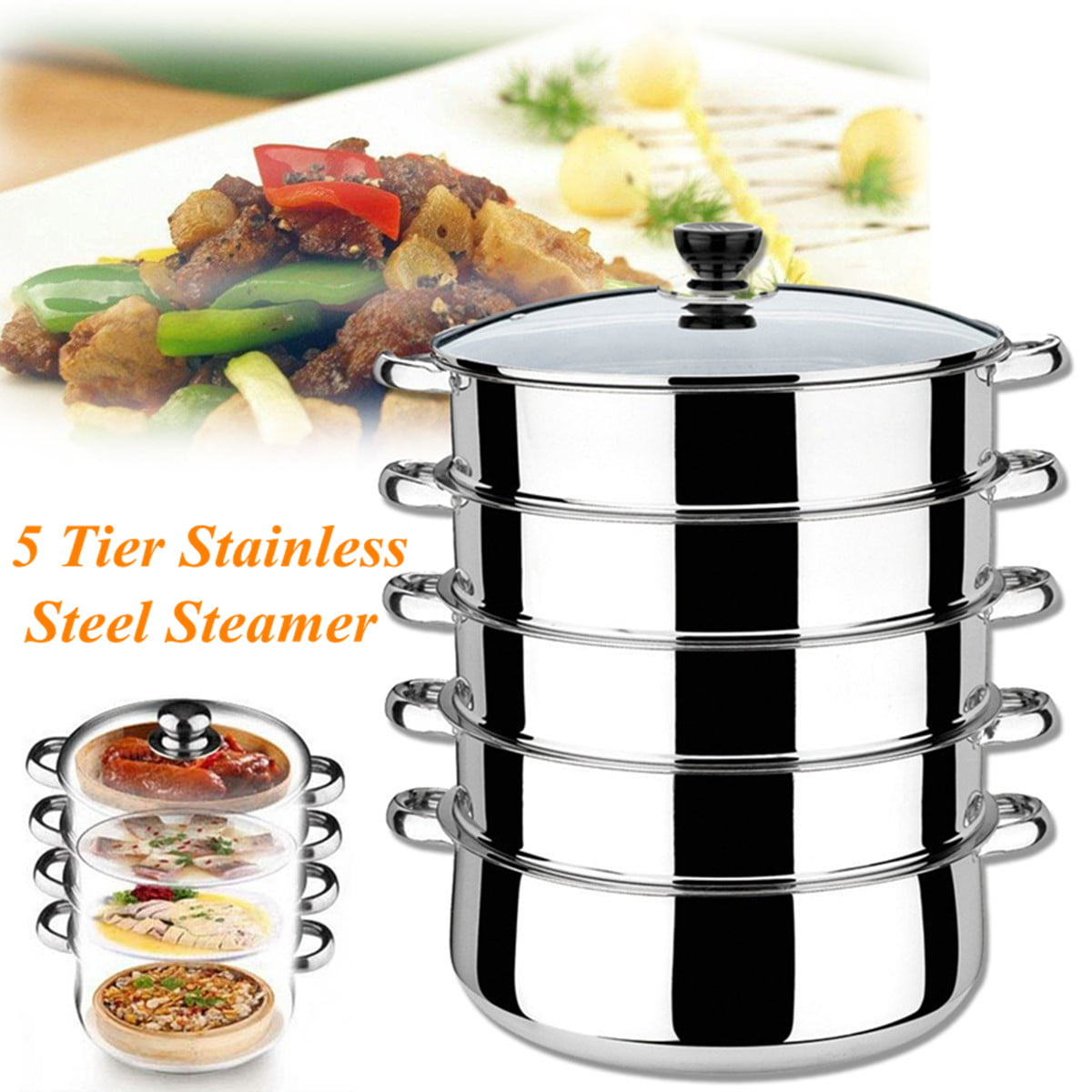 5 Tier Stainless Steel Steamer Induction Compatible Cookware 30cm Saucepan Pot by