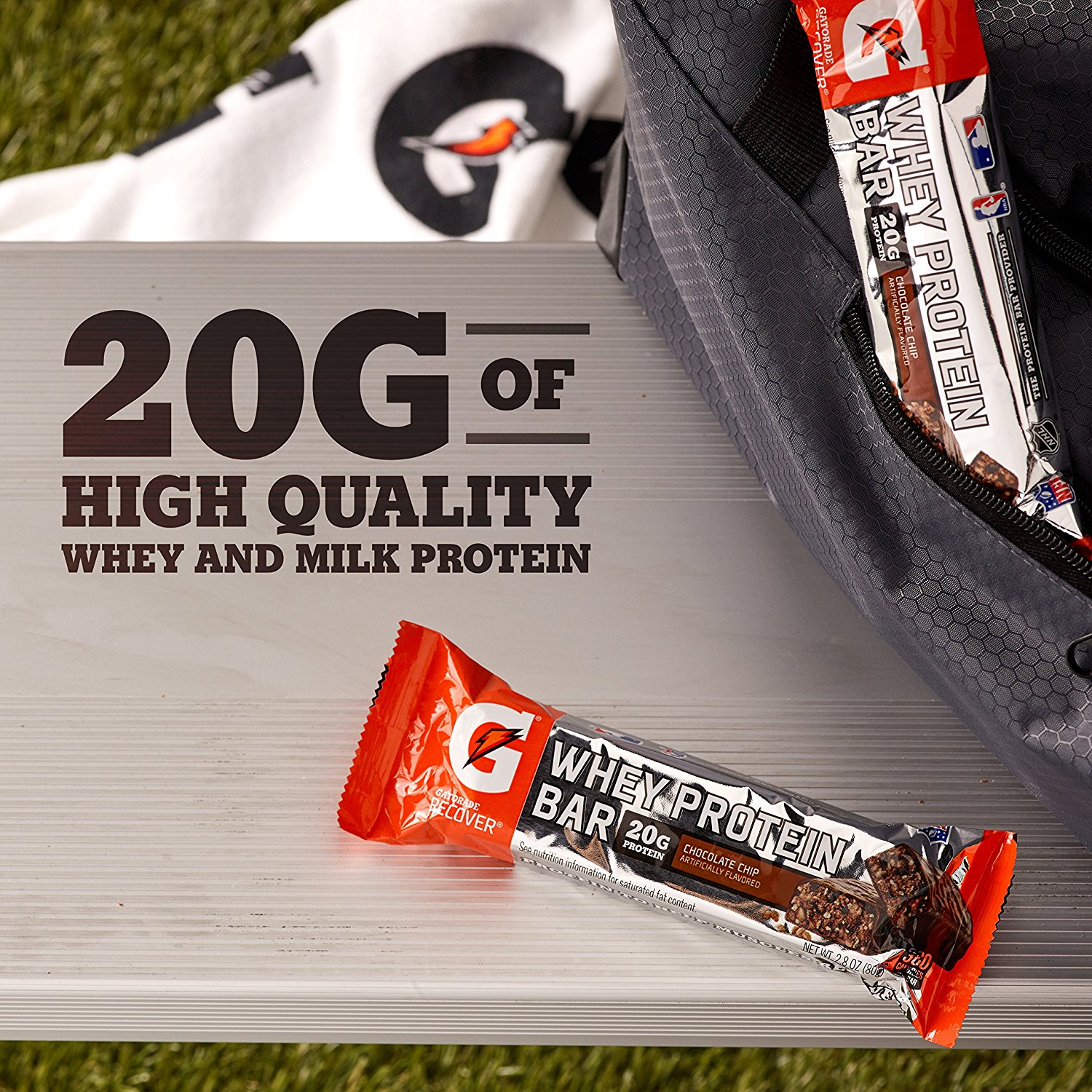 Gatorade Whey Protein Recover Bar Chocolate Chip 20g Protein 6 Ct