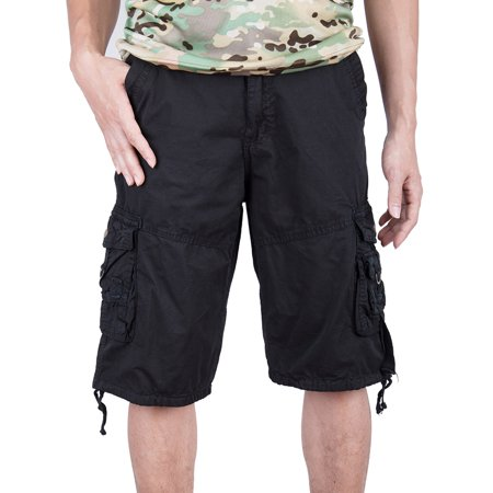 Canada Fit Shorts - SAYFUT Big Men's Military Style Cargo Shorts Big and Tall Sizes Relaxed Fit Twill Black Size S-4XL