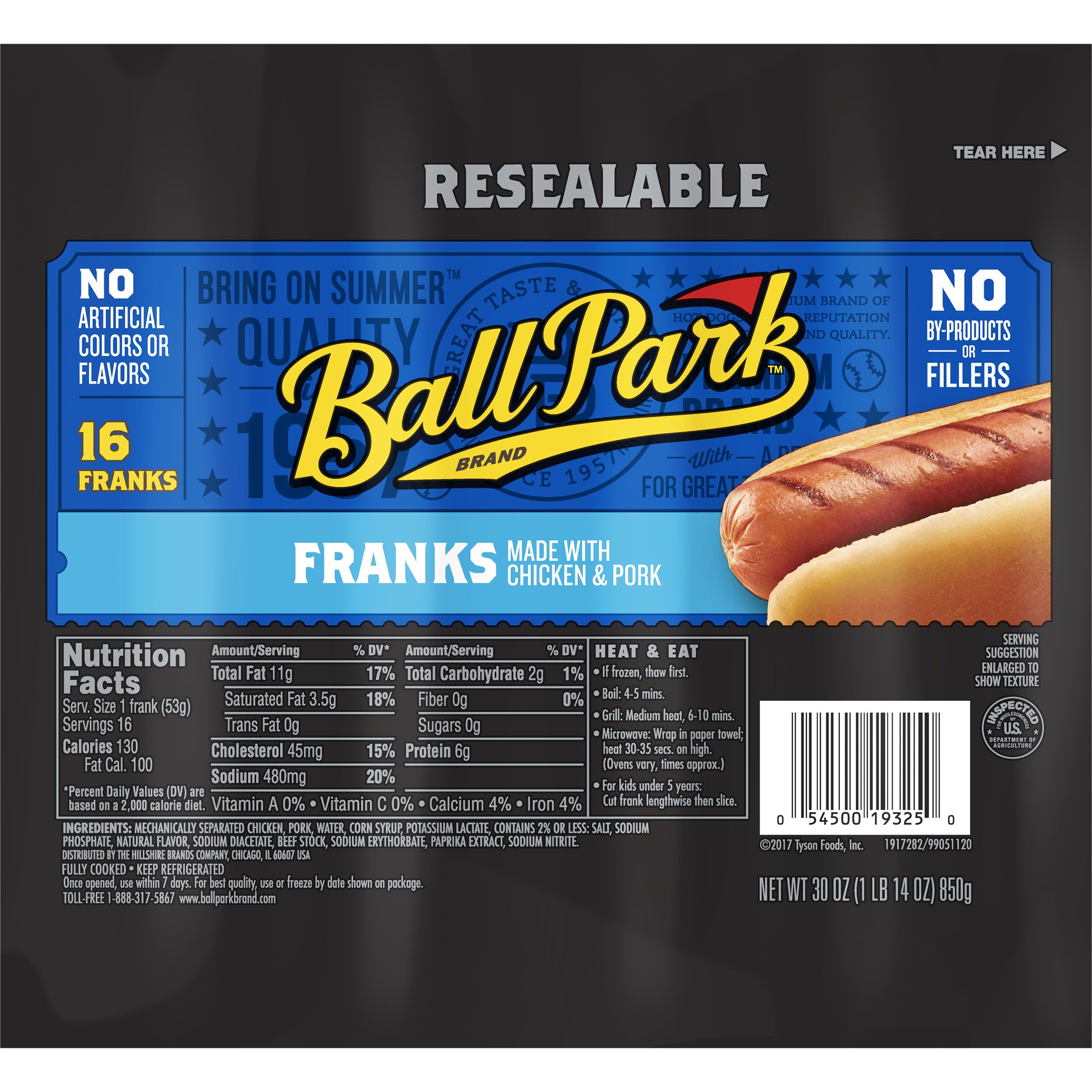 Ball Park® Classic Franks Family Pack, Original Length, 16 ct