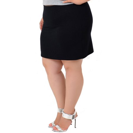 (Plus Size Cotton Soft Stretch Fabric Basic Mini Skirt - X-Large (12-14) / Black)
