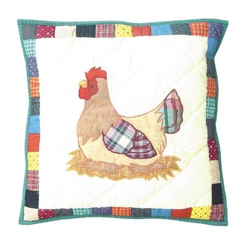 Patch Magic Rooster Hen Cotton Throw Pillow