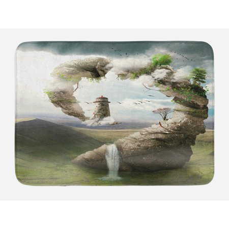Fantasy Bath Mat, Surrealistic Dreamland Natural Stoned Bridge to Lighthouse Fairytale World, Non-Slip Plush Mat Bathroom Kitchen Laundry Room Decor, 29.5 X 17.5 Inches, Beige Green White,
