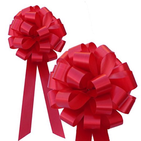 "Red Pull Bows with Tails - 8"" Wide, Set of 6"