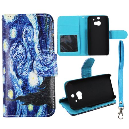 Starry Night Wallet Folio Case for HTC One M8 Fashion Flip PU Leather Cover Card Slots & Stand (Htc One M8 Wallet Case Strap)