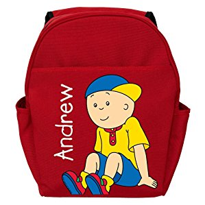 Personalized Caillou Lets Play Red Backpack