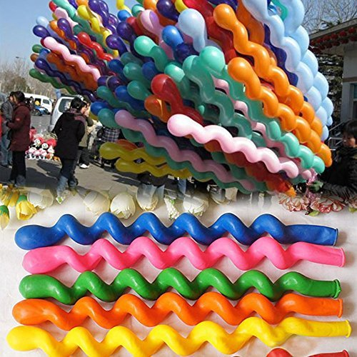 50 x Helium Latex Spiral Balloons Birthday Festival Party Decoration Mix Colors