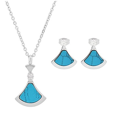 Edforce Stainless Steel Coral Acrylic Pendant Cubic Zirconia Earrings Necklace Turquoise, N: