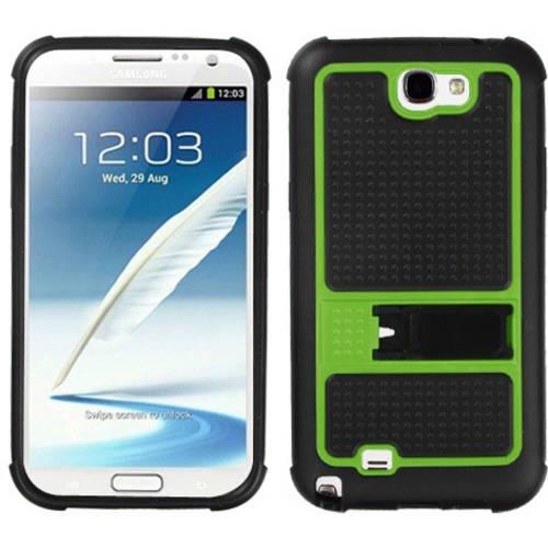 Samsung N7100 Galaxy Note 2 MyBat Gummy Cover, Horizontal Stripes Transparent Clear/Solid Black