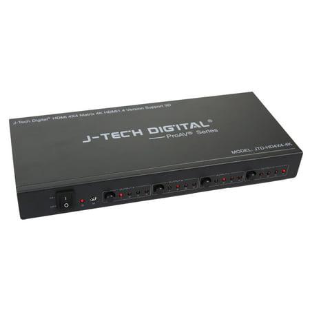 - J-Tech Digital ProAV Ultra HD 4K HDMI 4X4 Matrix Switcher 4 Ports Inputs and 4 Port Outputs supports 4Kx2K@30HZ, HDCP, 3D D