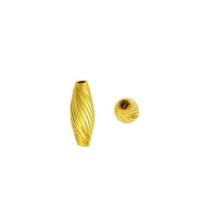 - Vintage Metal Beads, Twisted Spiral Tube Beads 14x7mm, 24 Pieces, Yellow Brass