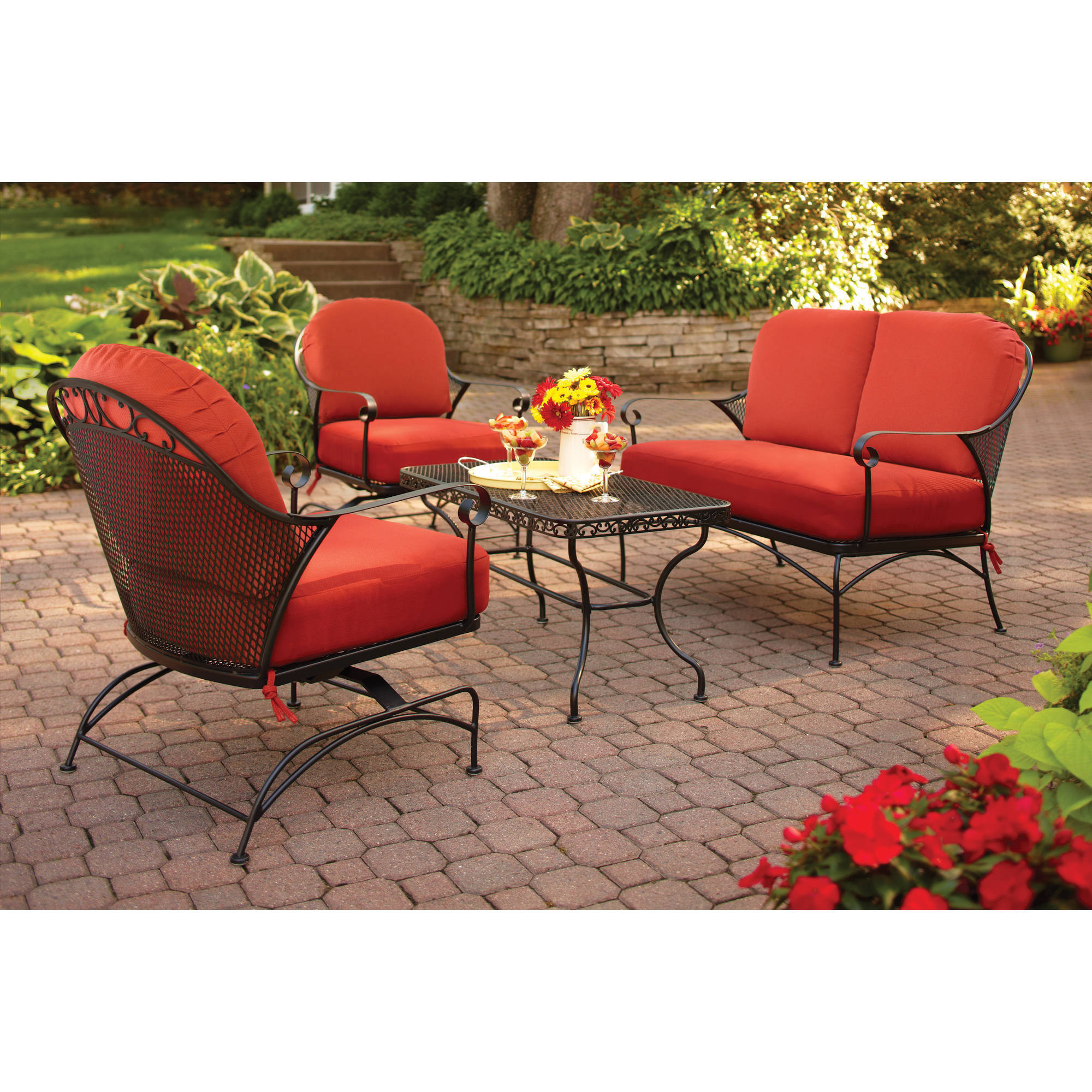 better homes gardens clayton court 4 piece patio conversation set rh walmart com walmart patio table with umbrella hole walmart patio table and chair sets
