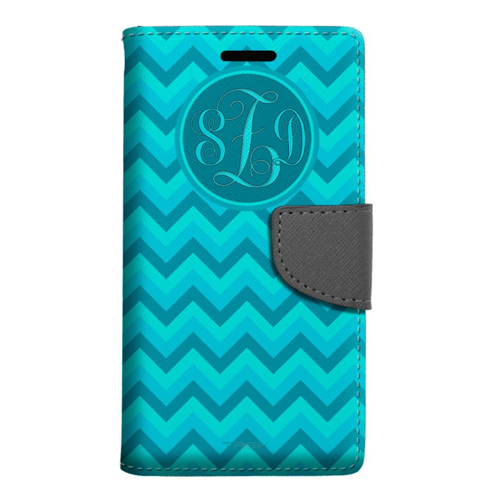 Monogram ZTE Grand X 3 Wallet Case - Chevron Turquoise Teal Pattern