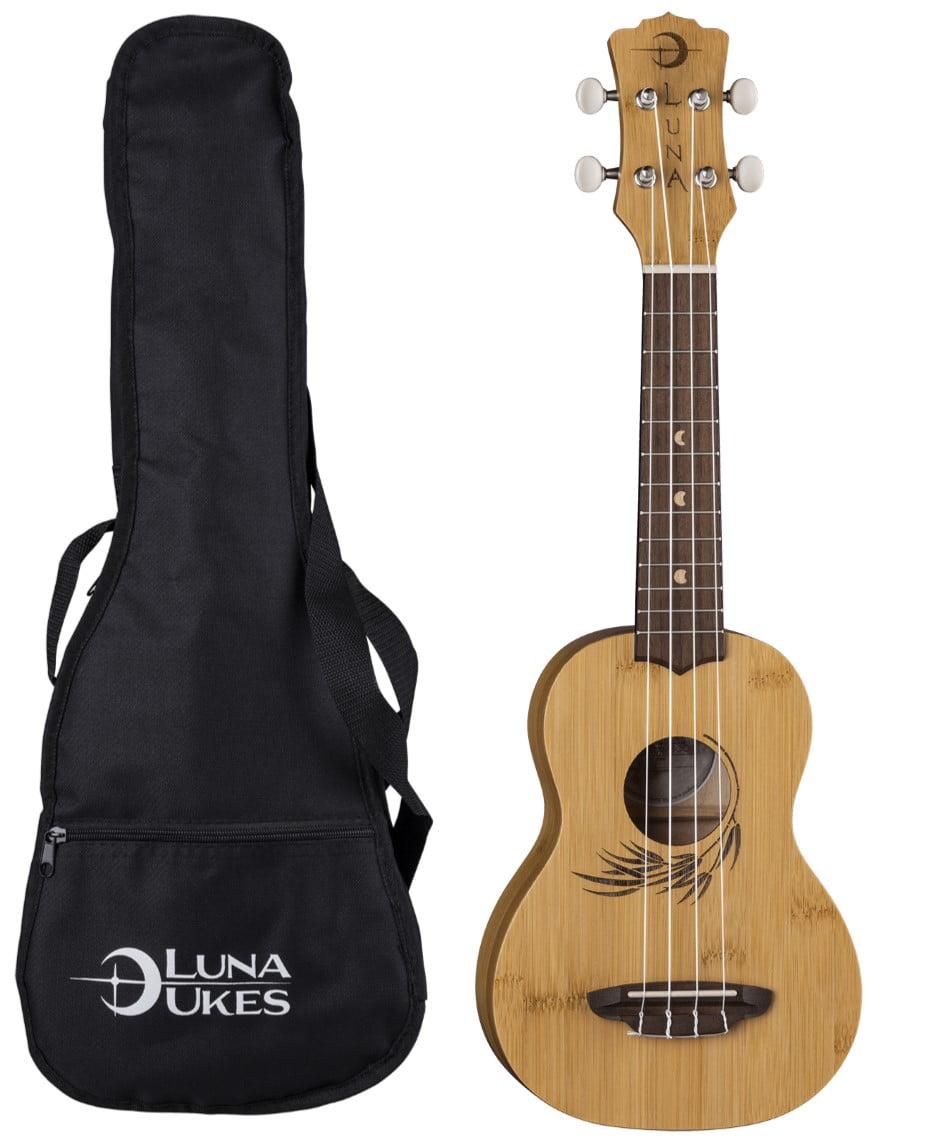 Luna Guitars Bamboo Soprano Ukulele w  Gigbag, UKE BAMBOO S by Luna
