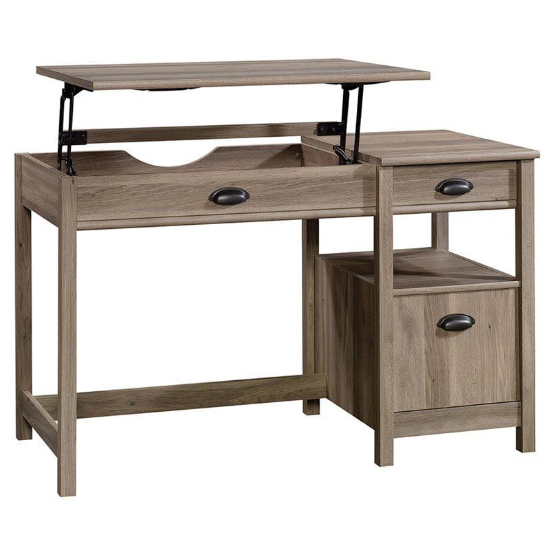 Sauder Harbor View Sit and Stand Lift Top Desk, Salt Oak Finish