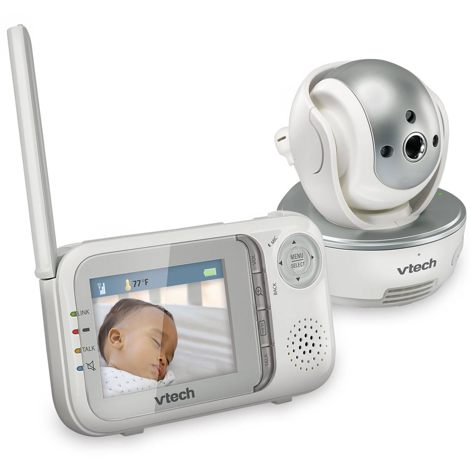 VTech VM333 Safe & Sound Expandable Digital Video Baby Monitor with Pan and Tilt Camera and Automatic Night Vision, 1 Parent Unit, White