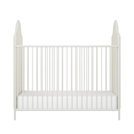 Little Seeds Piper Upholstered Metal Crib, Cream