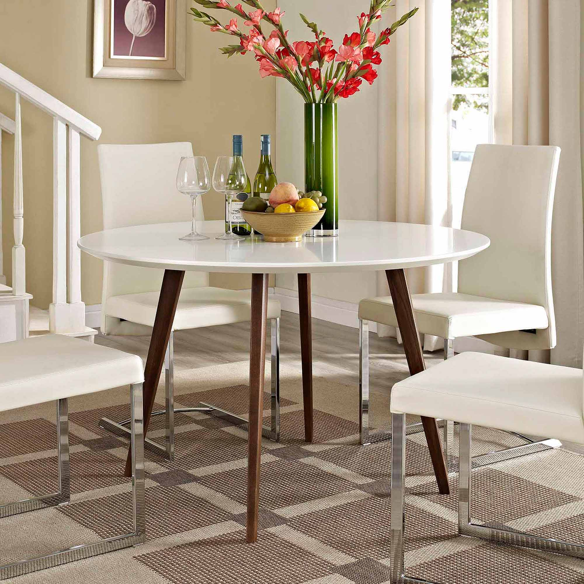 Modway Canvas Round Dining Table with Wood Legs in White