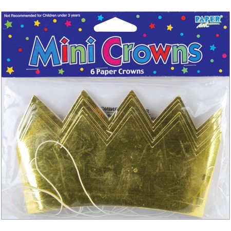 Mini Crowns 6/Pkg-Gold, Golden crown for your little princess, prince, king or queen outfit By Creative Expressions