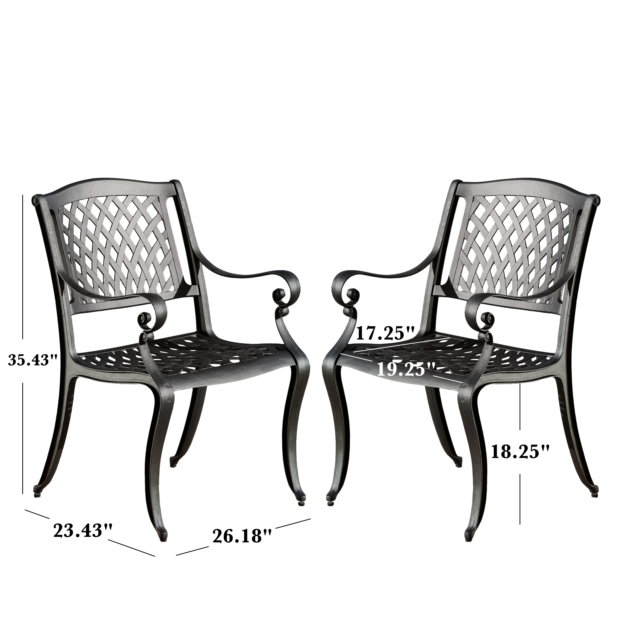 Excellent Naples Cast Aluminum Outdoor Dining Chairs Set Of 2 Black Sand Beutiful Home Inspiration Aditmahrainfo