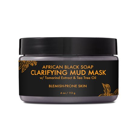 African Black Soap Clarifying Mud Mask - Clarifies and Balances Oily, Blemish-Prone Skin for a Smooth Complexion - Sulfate-Free with Natural and Organic Ingredients (4