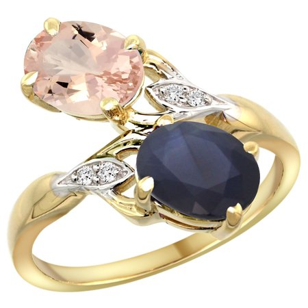 14k Yellow Gold Diamond Natural Morganite & Australian Sapphire 2-stone Ring Oval 8x6mm, size 6.5