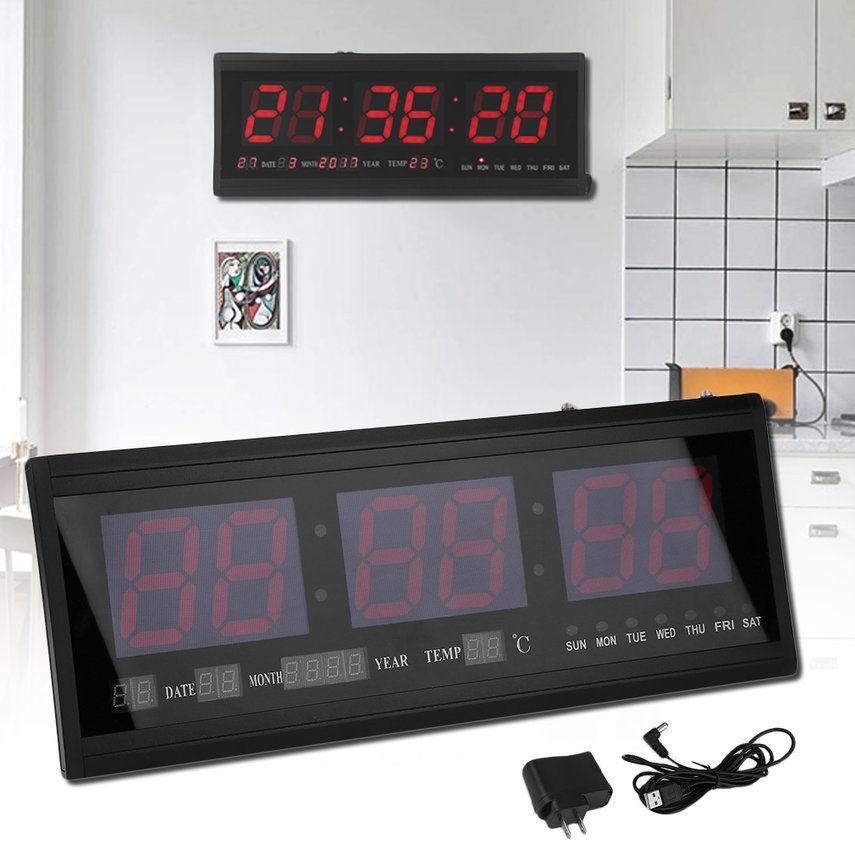 Digital Large Big Jumbo LED Wall Desk Clock With Calendar Temperature Humidity by