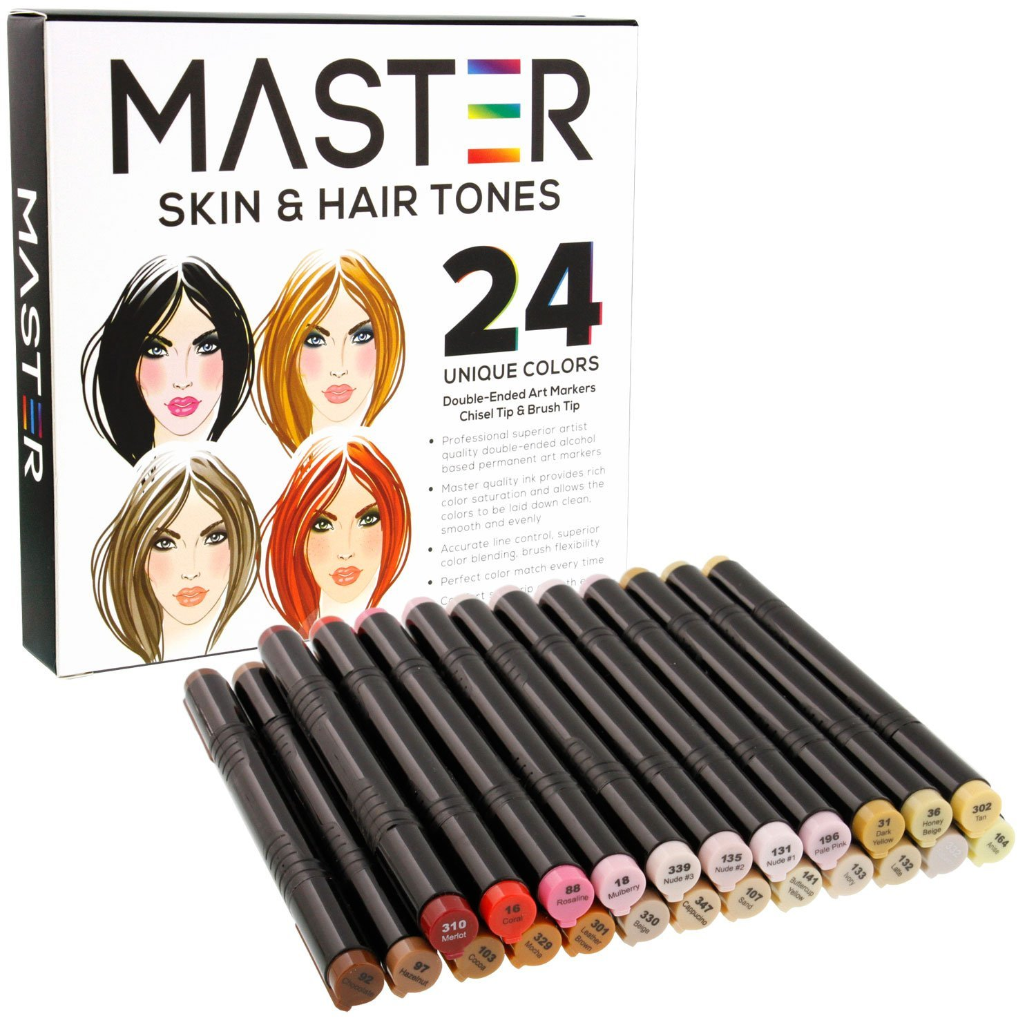 24 Color Master Markers Skin & Hair Tones Dual Tip Set Double-Ended Art Markers with Chisel Point and Standard... by US Art Supply