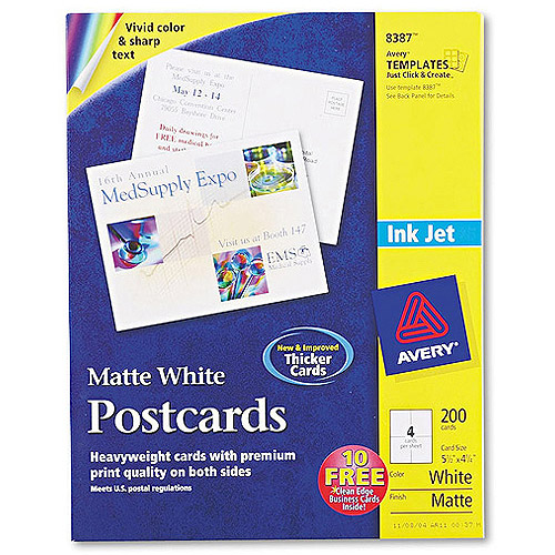 "Avery Postcards Paper for Inkjet Printers, 5-1/2"" x 4-1/4"", White, Matte, Box of 200"