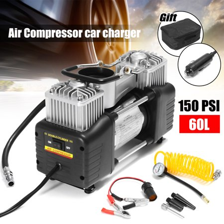 Audew Portable Air Compressor Car Air Pump Inflator Pump Dual Cylinder + Gauge 12V 150 PSI Tire Pump for Car, Truck, Bicycle, and Other Inflatables