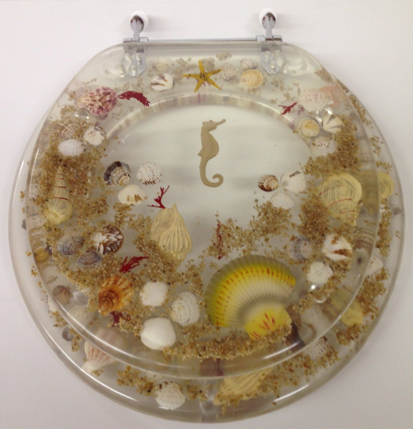 JEWEL SHELL SEASHELL AND SEAHORSE RESIN TOILET SEAT, CHROME HINGES STANDARD SIZE