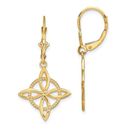 FB Jewels 14K Yellow Gold Small Celtic Eternity Knot Leverback Earrings Cut Out Circle Small Circle Cut Outs