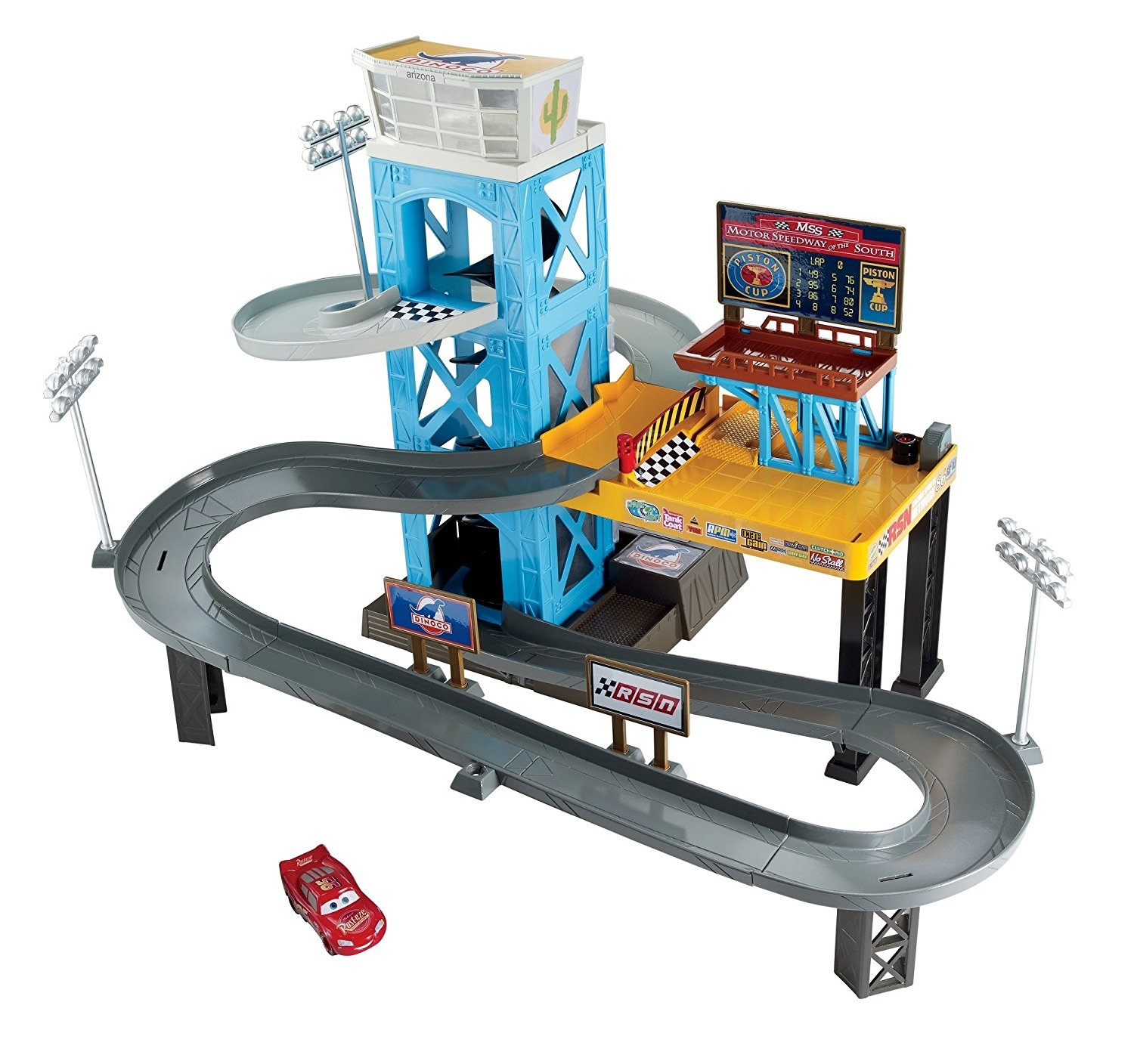 Disney Pixar Cars 3 Piston Cup Motorized Garage