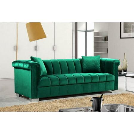 Meridian 615 Kayla Living Room Sofa in Green Tufted Velvet ...