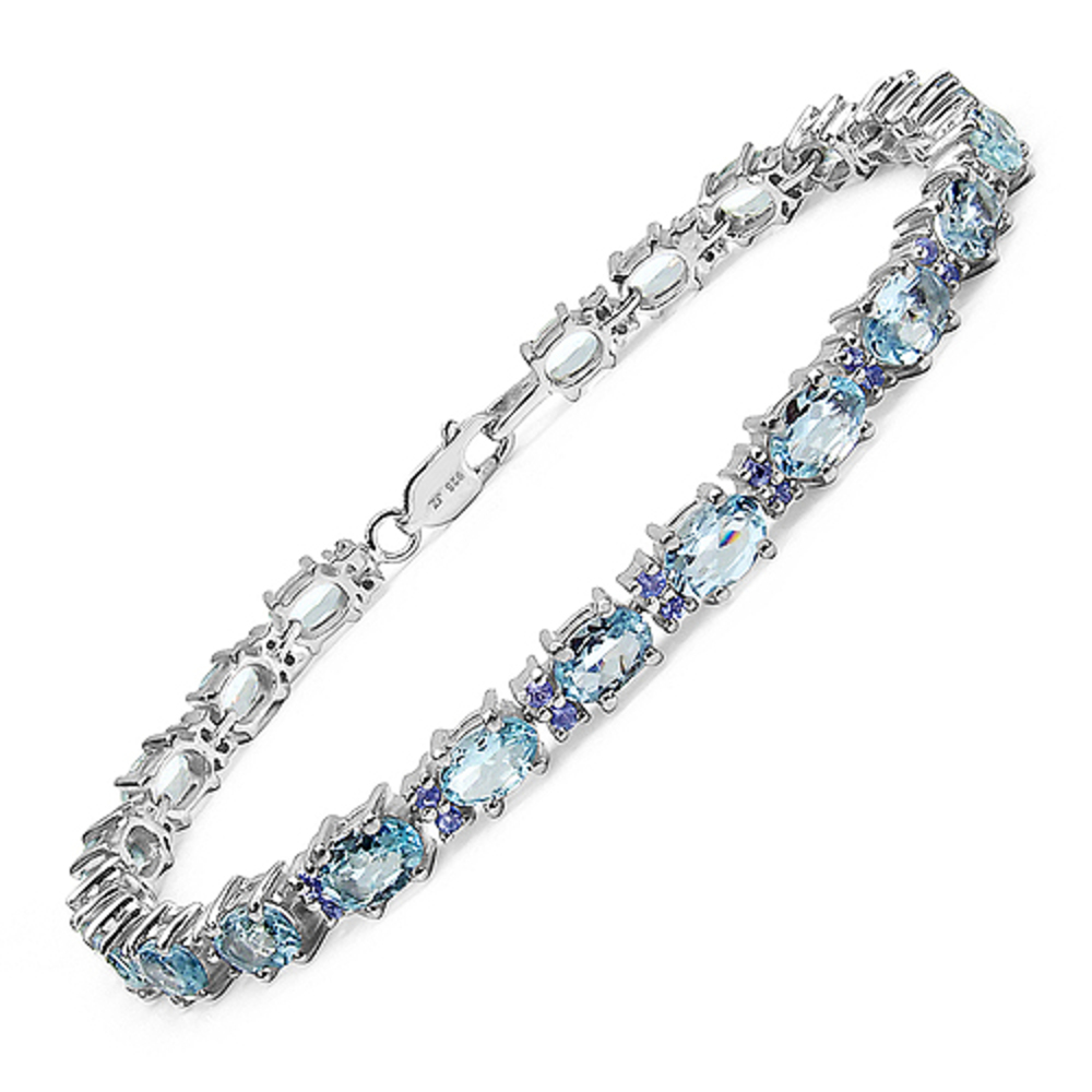 Genuine Oval Aquamarine and Tanzanite Bracelet in Sterling Silver by