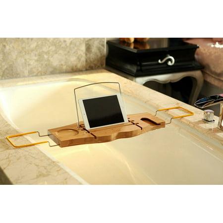 Bamboo Bathtub Caddy Tray, Estink Adjustable Wooden Serving Bath ...