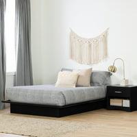 South Shore Basics Platform Bed with Molding, Black, Full