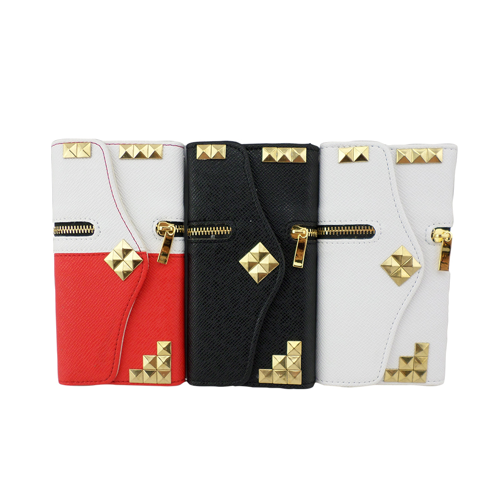 TCD iPhone 4 4S Premium Gold Studded PU Leather Wallet with Credit Card Slots +