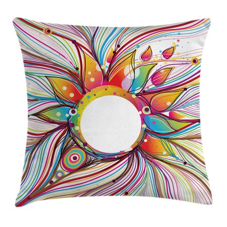 Abstract Decor Throw Pillow Cushion Cover, Vector Smoky Wavy Floral Design with Rainbow alike Stripes and Lines, Decorative Square Accent Pillow Case, 18 X 18 Inches, Multi Colored, by Ambesonne ()