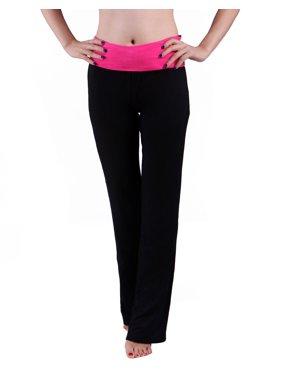 6c52d0c5600 Product Image HDE Women s Color Block Fold Over Waist Yoga Pants Flare Leg  Workout Leggings (X-