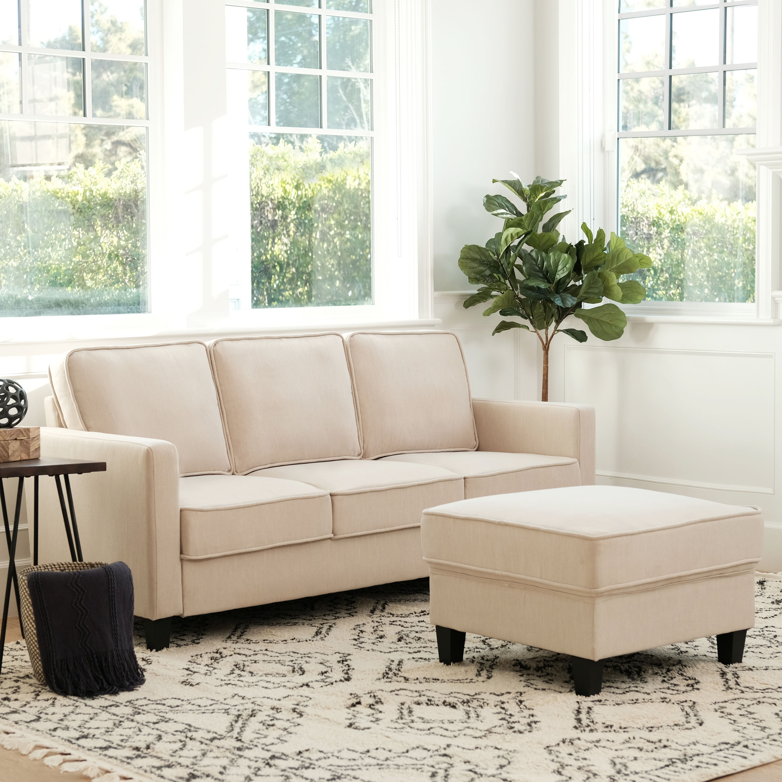 Princeton Fabric Sofa and Ottoman Set