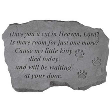 KayBerry Garden Accent Pet Memorial Stone Have you a cat in Heaven (Pkt Accent)