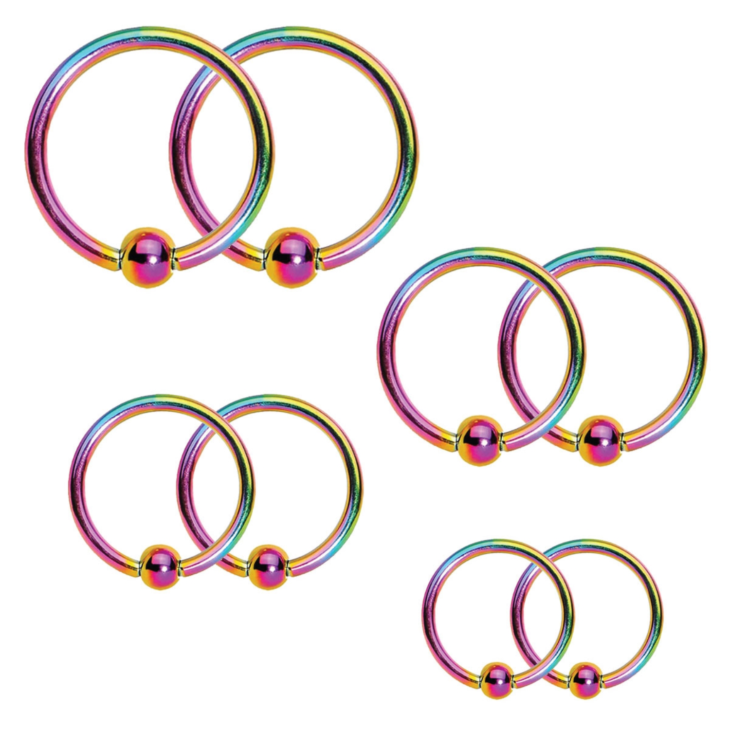 BodyJ4You Captive Bead Ring Piercing Set 14G Rainbow Surgical Steel Nose Tragus Nipple Hoop Ring 8PC