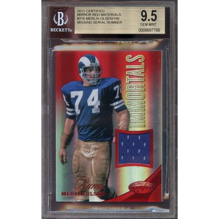 2012 certified mirror red materials jersey #216 MERLIN OLSEN rams BGS 9.5 - Merlin Olsen Autographed Rams