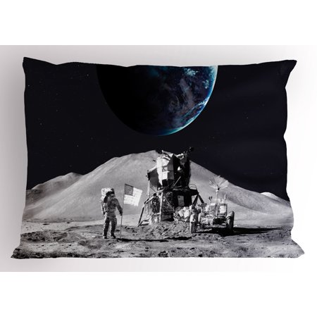 Outer Space Pillow Sham Moon US Spaceman Launching on the Exploring Dark Matter Orbit Lunar Design, Decorative Standard Queen Size Printed Pillowcase, 30 X 20 Inches, Grey and Blue, by