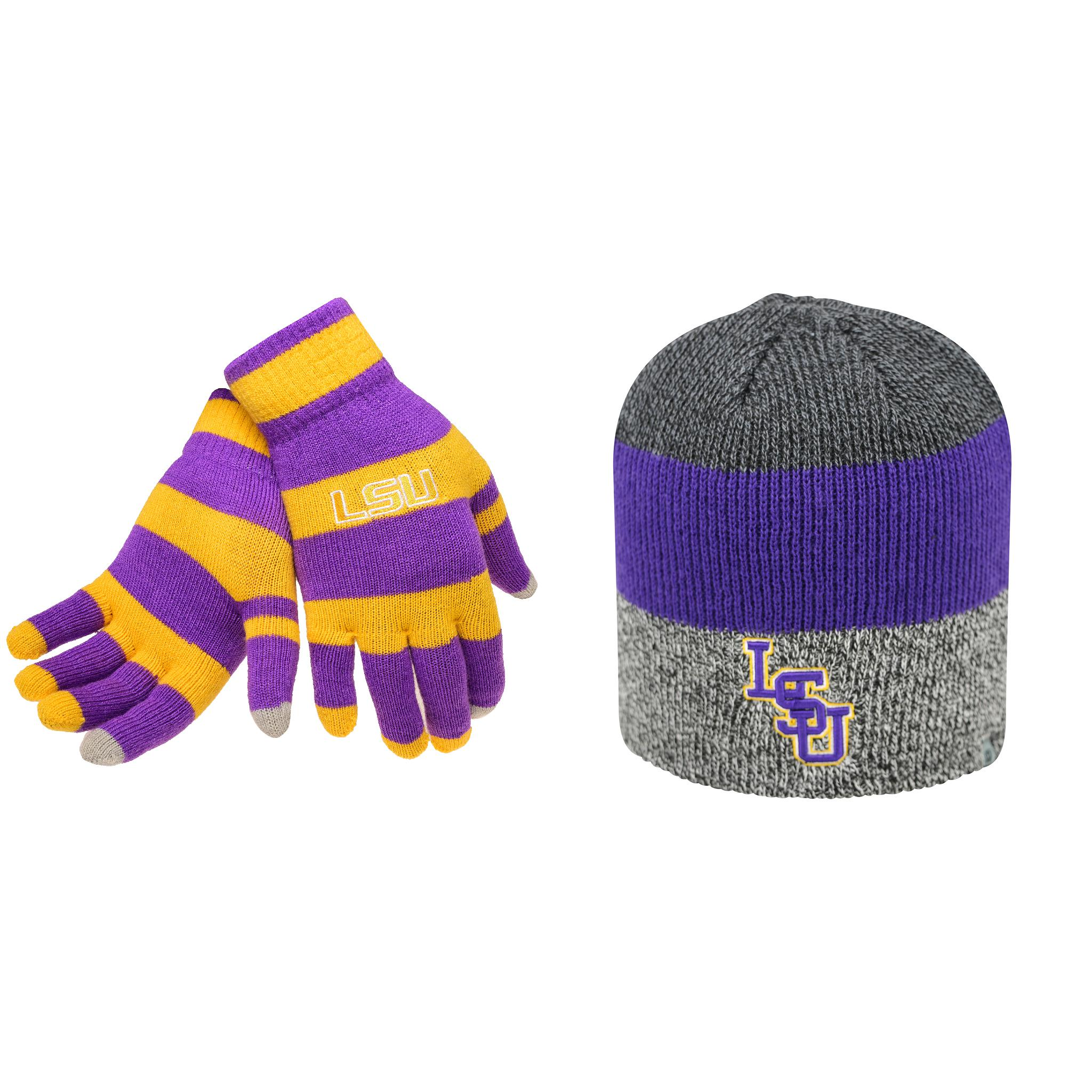 d95b9f91cc1 ... where can i buy ncaa lsu tigers glove stripe knit and sunset beanie hat  2 pack