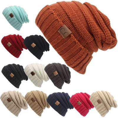 - Women Hat CC Trendy Warm Oversized Chunky Soft Knit Cable Slouchy Beanie