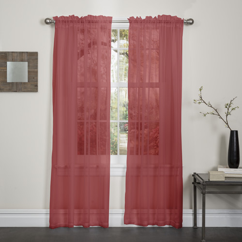 "Lisa Sheer Voile Window Curtain Panel, 55"" X 84"", 2 Pack Rust"