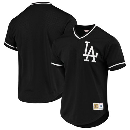 Los Angeles Dodgers Mitchell   Ness Mesh V-Neck Jersey - Black ... c485202e3