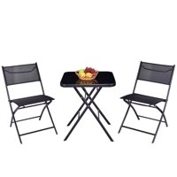 Gymax Folding 3PC Set Square Table And Chair Garden Outdoor Patio